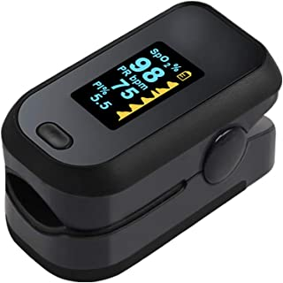 Fingertip Pulse Oximeter, Blood Oxygen Saturation Monitor (SpO2) with Pulse Rate Measurements and Pulse Bar Graph, Portable Digital Reading OLED Display, Batteries Included