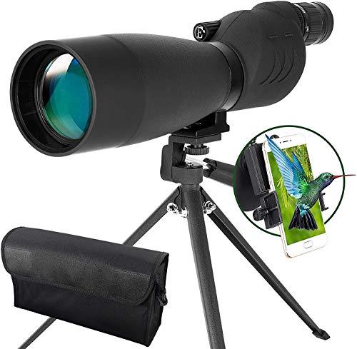 ESSLNB Cannocchiale 25-75X70 Cannocchiale Professionale BAK4 Prisma Impermeabile Oculare Dritto con Treppiede e Adattatore Smartphone per Birdwatching Tiro a Segno