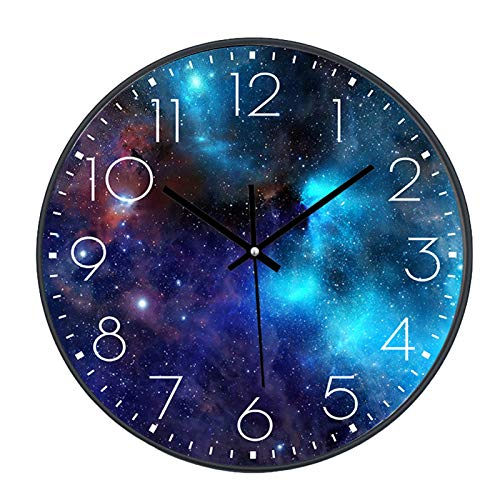 SWECOMZE Wanduhr Lautlos, 25cm, Kinderwanduhr, Zifferblatt mit Galaxie Sterne Weltraum Sternenhimmel, 10 Zoll Kinder Wanduhr Deko für Wohnzimmer Kinderzimmer (039)