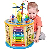 BATTOP Activity Cube Toys for Kids Wooden 8-in-1 Activity Blocks Educational Bead Maze Toys Boys Girls Activity Center (Large)
