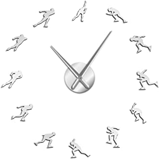 Wall Clock Winter Sport Ice Speed Skating Large Wall Clock Speed Skater Sport Art Room Decor Speed Roller Diy Big Wall Wat...
