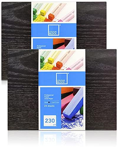 "COLOUR BLOCK 2 Pack, 12""x16"" Black Professional Soft Pastel Paper Pad, 24 Sheets 230GSM Cold Pressed Acid Free Artist Paper, Glue Bound, Soft Cover, Paperback"