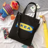 SENDALING Señoras Forma boletín de impresión de Lona de algodón de Tela Reutilizables Eco del Viaje Bolsas de la Compra Mujer de Hombro compradores,Negro IKEA