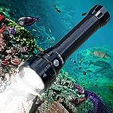 Wurkkos DL70 Linterna de buceo de 13,000 lúmenes, 4 * CREE XHP50.2 (3V) LED Linterna buceo, Luz de buceo súper brillante IPX-8 Linterna impermeable Con 2 * baterías 26650 y cargador