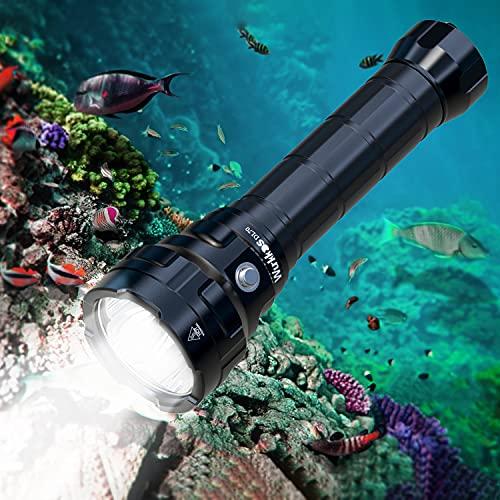 Wurkkos Torcia Subacquea da 13.000 Lumen per Immersione, 4 * CREE XHP50.2(3V) LED Torcia Subacquea, Torcia Impermeabile Super Bright Scuba Dive Light IPX-8 Con 2 Batterie 26650 e Caricabatterie