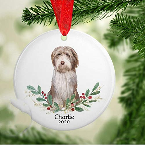 BYRON HOYLE Bearded Collie Christmas Ornament Bearded Collie Keepsake Bearded Collie Ornament Bearded Collie Memorial Forever in Our Hearts 2020 Pandemic Xmas Decor Wedding Ornament Holiday Present