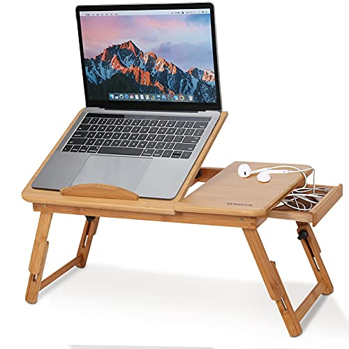 Bamboo Laptop Desk, Foldable Bed ServingTable Height Adjustable Lapdesk...