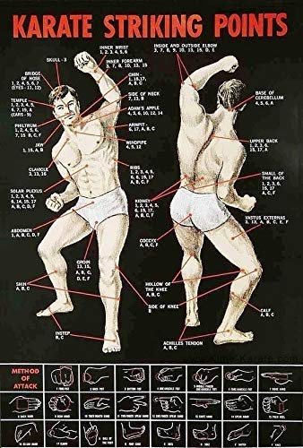 KARATE STRIKING POINTS METAL TIN SIGN POSTER WALL PLAQUE