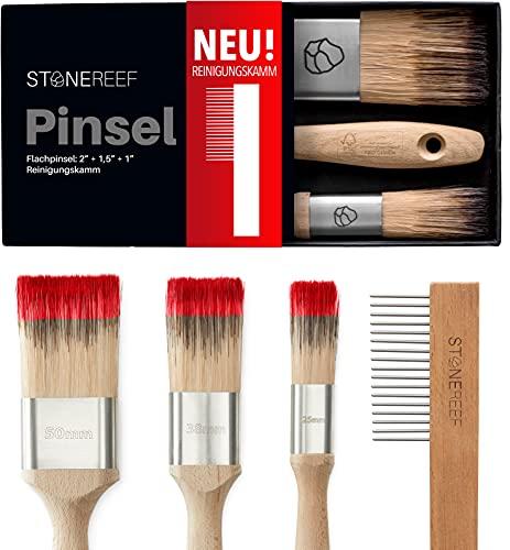 STONE REEF Lasurpinsel Set [Mit Reinigungskamm] 3 Stk. Pinsel Holz streichen - Malerpinsel Set, Flachpinsel, Lackierpinsel, Lackpinsel - Pinselset Maler, Borstenpinsel, Pinsel Lack, Pinsel Lasur holz