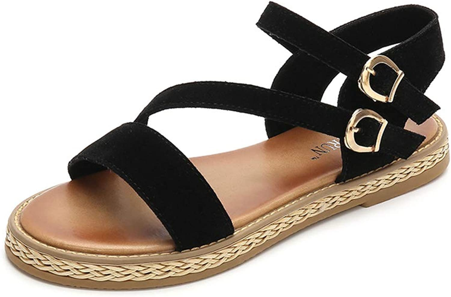 Tuoup Womens Leather Fashion Flat Summer Ankle Strap Sandals