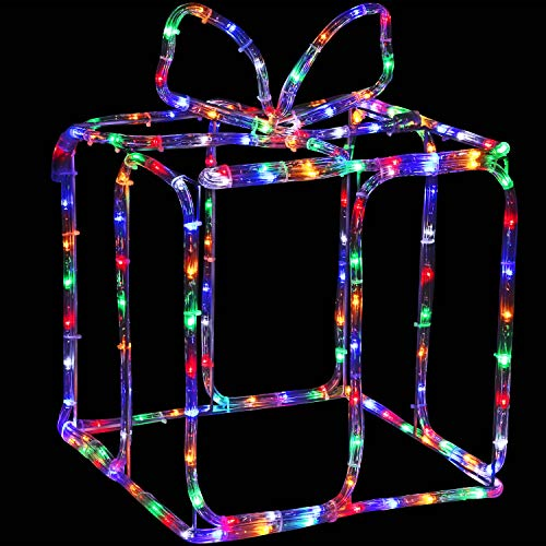 Sunnydaze Indoor-Outdoor Multi-Color LED 3D Christmas Box Silhouette, 18-Inch Height