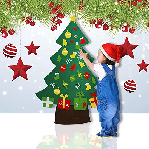 DIY Felt Christmas Tree Set - Xmas Decorations Wall Hanging Ornaments Kids Gifts Party Supplies Door Wall Hanging (Green, 40.228.5 in)