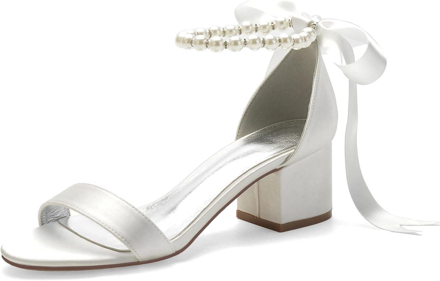 Womens 実物 Sandals Ladies Mid Low Pearl Elegant Heel テレビで話題 Block A