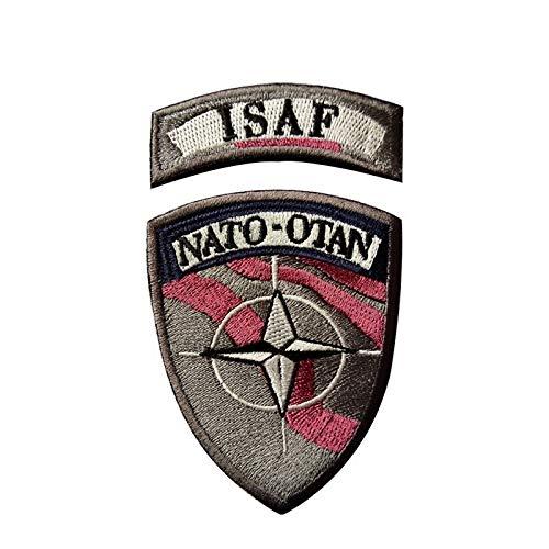 lihe008 Nation ALLIANZ Isaf Armband Bordband Etiquetas Mágicas Magic Patch Badge Badge Paño de Ventilador Militar de la OTAN (Combinación Establecida) 6.5 * 2 cm 6.5 * 8.5cm 2pcs