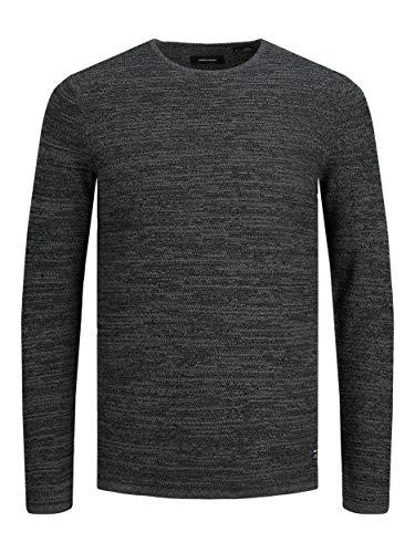 Jack & Jones JJTHEO Knit Crew Neck Sweater, Noir/détails : Twisted with Sedona Sage, L Homme