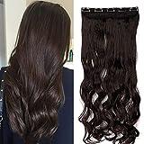TESS Haarteil Clip in Extensions wie Echthaar Dunkelbraun Haarverlängerung 1 Tresse 5 Clips günstig Gewellt Haarverdichtung 24'(60cm)-120g