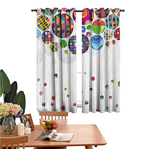Circle Thermal BlackoutDoor Curtain Panel Geometric Design with Abstract Background with Ornament Circles Pattern Print Thermal Insulated for Kid's Bedroom 55'x72' Multicolored