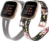 Reloj de Correa Cuero Compatible con Fitbit Versa, Hombre Repuesto La Correa (2PCS D)