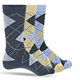Luther Pike Seattle 3 Pack of Premium Cotton Argyle Mens Blue Dress Socks For Men – Colorful Fashion - Tan Denim