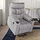 Esright Electric Power Lift Chair Gray Recliner for Elderly Heated Vibration Massafe Function Fabric Sofa Motorized Living Room Chair with Side Pocket and Cup Holders, USB Charge Port & Remote Control