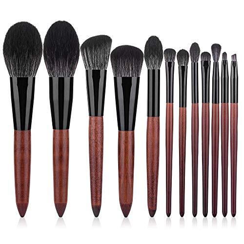 Fanxp 12Pcs Ensemble de pinceaux de maquillage multifonctionnel, poudre libre Blush fard à paupières Highlight Brush Lady Beauty Tools