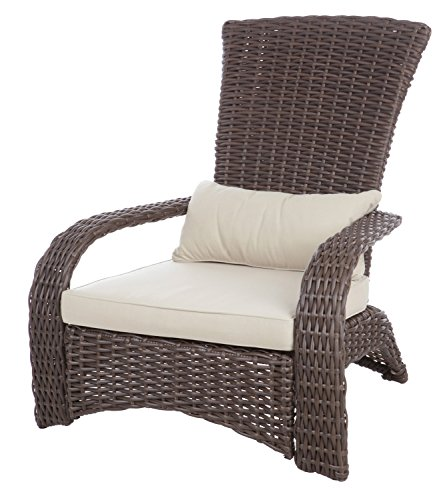 Patio Sense Deluxe Coconino Wicker Chair | All Weather Wicker | Beige Cushion and Lumbar Pillow | Adirondack Style Armchair | For Porch Lawn Garden Backyard Balcony Deck Pool Indoor Outdoor |
