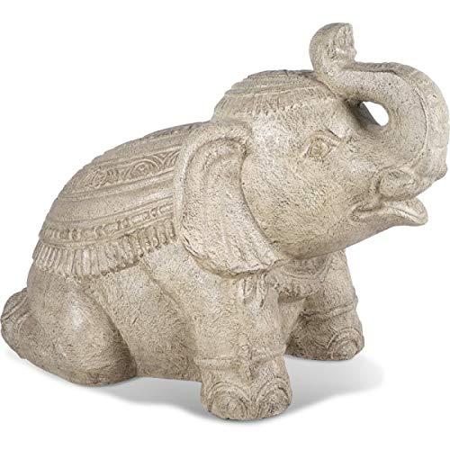 KOH DECO Statue de Jardin éléphant Old White 80 cm