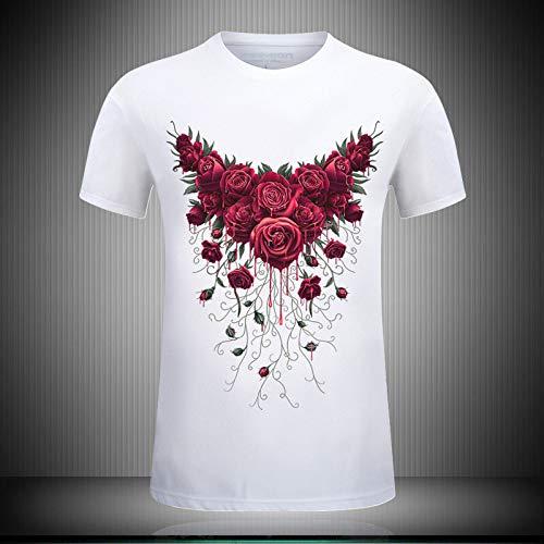 3D gedrucktes t-Shirt,Unisex Cooler Sommer Kurzarm Tops Schöne Rote Rose Blumenmuster Druck T-Shirt Schnell Trocknen Bequem Rundhals Atmungsaktiv Lässig Für Männer Und Frauen Geburtstagsfeier K