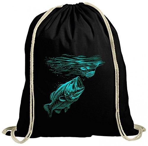 Shirt Happenz Angeln01 Premium Turnbeutel | Angler- | Angeln | Fishing | Gymbag, Farbe:Schwarz (Gymbeutel);Größe:37cm x 46 cm