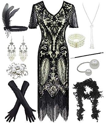 Women 1920s Gatsby Vintage Sequin Flapper Fringe Party Plus Dress with 20s Accessories Set