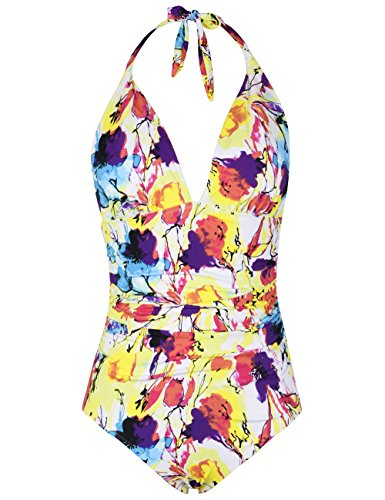 Hilor Women's Plunge Deep V Neck One Piece Swimsuit Tummy Control Monokinis Bikinis 6 Yellow Floral