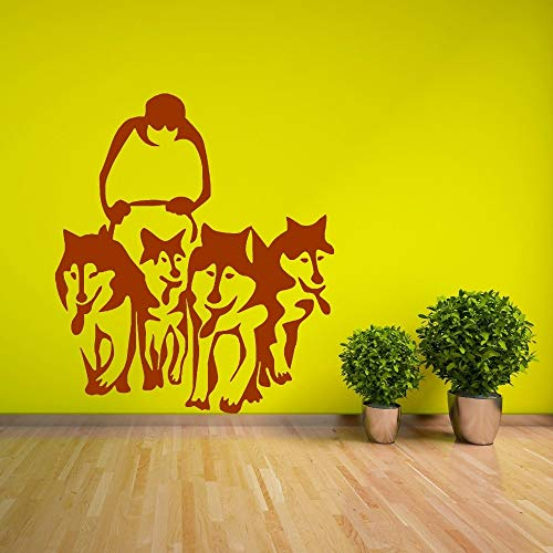 Muurstickers zonnebloem, Husky hond husky slee vinyl muursticker sticker huisdier woonkamer VinylAdesiv woondecoratie muursticker57x66cm