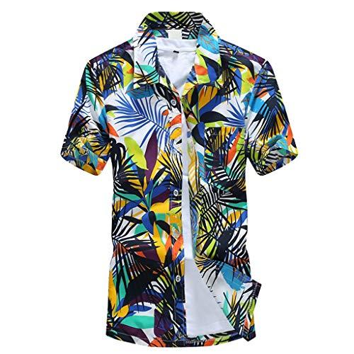 UJUNAOR Herren-Hemd – Funky Hawaiihemd – Kurzarm-Hemd für Männer – Strand Palmen Meer(Grün,EU XS/CN S)