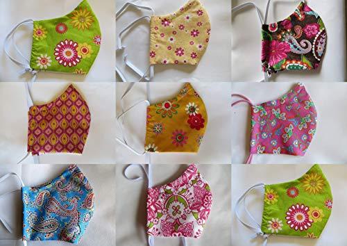 Damen Behelfsmaske Blumen mit Filtertasche, Vlies und Nasenbügel, Mundschutz waschbar 60°, Maske in 4 Größen