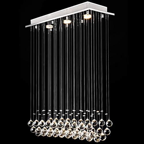 Lightess LED Deckenleuchte Kristall Hängend Kronleuchter Modern Pendelleuchte Rain Drop Beleuchtung mit 3 Leuchten Kristallkugel für Küche Flur Wohnzimmer Schlafzimmer..