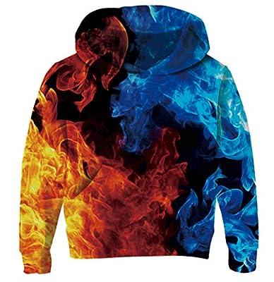 Goodstoworld Child Boys 3D Fog Hoodies Girls Fire Flame Graphic Sweatshirts with Hood Fleece Ice Blue Funny Novelty Workout Gym Shcool Hoody Streetwear Playwear Hooded Jackets 5T/6T