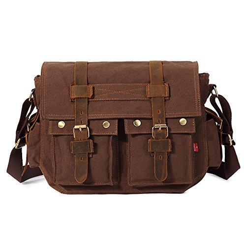 Chikencall 14 Inch Laptop Mannen Messenger Bag Schouder Laptop Tassen Militaire Lederen Satchel Vintage Canvas Reistas Werktas voor Mannen Koffie