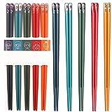 HTGUDE Palillos, Palillos Reutilizables de Fibra de Vidrio, 5 Pares de Palillos Chinos de Estilo japonés Pintados a Mano, se Pueden Utilizar en el lavavajillas (Color : 5 Pairs)