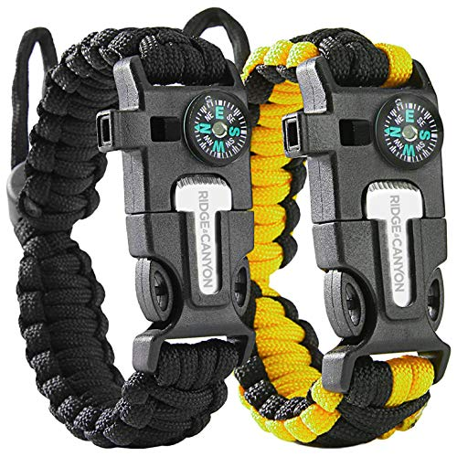 Ridge & Canyon Survival Bracelet | The Ultimate 5-in-1 Paracord Bracelet for Hiking & Outdoor Survival | 2X-Edition Value-Pack [2X Bracelets for The Price of One] Rich Black & Lightning Yellow
