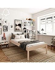 Łóżko dla seniorów 120 x 200 cm Triin z rolowanym stelażem z twardego drewna brzozowego FSC – ponad 700 kg – łóżko drewniane o wysokości 55 cm z zagłówkiem – stabilne łóżko pojedyncze dla seniorów