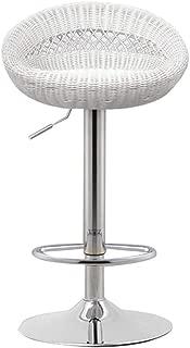 ZWJ-Bar Stool Bar Stool Imitation Rattan 360 Degree Rotation Gas Lift Breakfast Chair Home High Stool