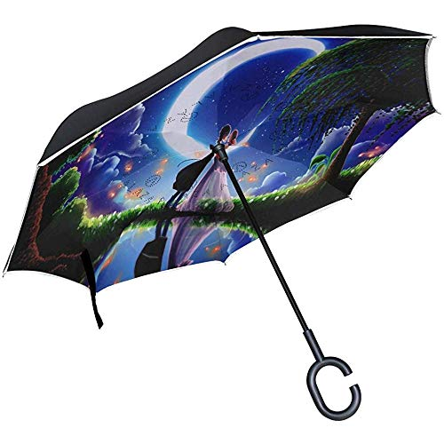 Reverse Umbrella Anime Lovers achtergronden omgekeerd paraplu omkeerbaar voor Golf Car Travel regen Outdoor Black