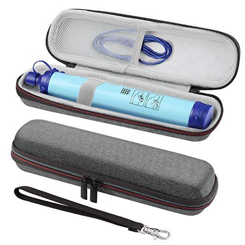 MoKo Tragtasche für Wasserfilter, Stroh Schutztasche mit Handschlaufe und Karabinerhaken Stoßfeste Aufbewahrungshülle für Wasserfilter Abwasserreinigungsanlage - Grau