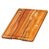 Teak Cutting Board - Rectangle Edge Grain Board With Corner Hole And Juice Canal (16 x 12 x .5 in.) - By Teakhaus