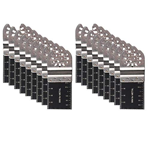 Diagtree 20 PCS Bi-Metal Oscillating Multitool Quick Release Oscillating Saw Blades Fits Fein Multimaster, Porter Cable, Black&Decker, Bosch Craftsman, Ridgid, Makita, Milwaukee, Dewalt etc