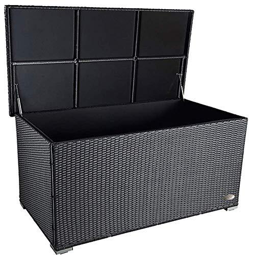 PREMIUM 'Venezia' 950 L Polyrattan Garten Kissenbox wetterfest (regnet nicht rein) 146 x 83 x 80 cm, Auflagenbox mit verstärktem Deckel und Gasdruckfedern, auch als Tischplatte geeignet, Schwarz