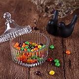 ComSaf Bonboniere mit Deckel Ф10cm 2er-Set, Zuckerdose aus Glas Klein, Lebensmittelechter Glasbehälter für Snacks - 3