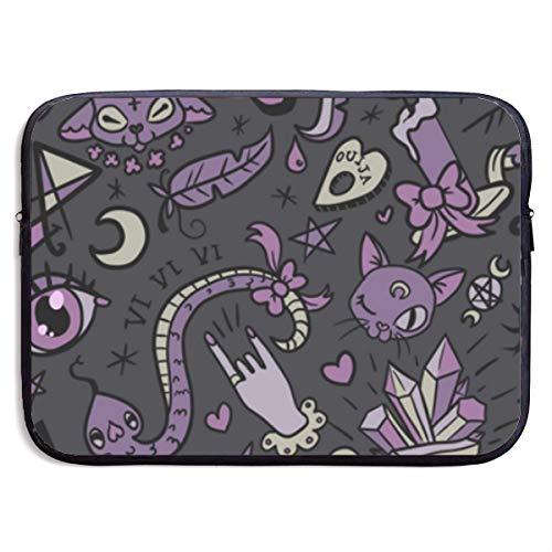 HOODSWOP Purple Black Goth Spooky Print Waterproof Laptop Sleeve, Laptop Sleeve Bag- Stylish Cute Neoprene Notebook Carrying Case Handbag for 13' 15'
