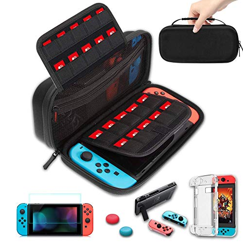 TOPROHOMIE Case for Nintendo Switch - Nintendo Switch Carry Case Pouch + Switch Cover Case + HD Switch Screen Protector + Thumb Grips Caps for Nintendo Switch Console Accessories