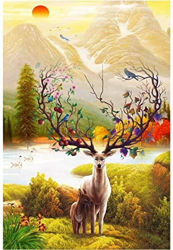 2000 stukjes houten puzzel voor volwassenen/kinderen, educatieve puzzel voor het decomprimeren (illustratie van elanden), afmeting 105 * 75cm
